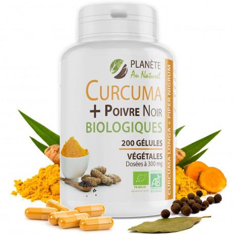 Curcuma et Poivre Noir Bio 300mg - 200 gélules végétales