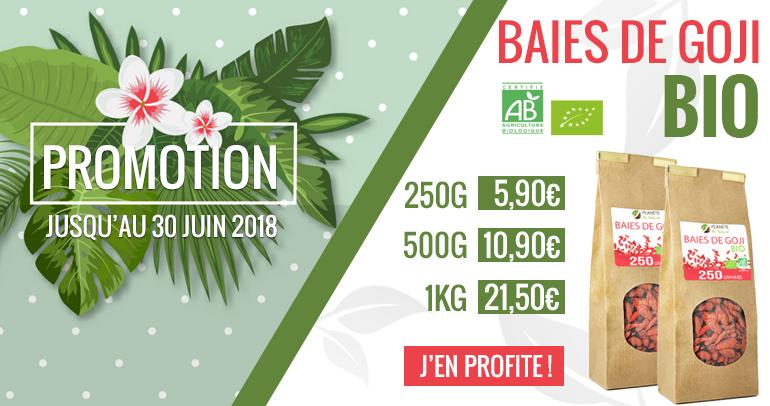 Promotion Baies de Goji jusqu'au 30 juin 2018